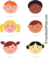 enfants, multiculturel, têtes, mignon
