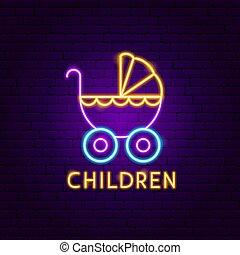 enfants, néon, étiquette
