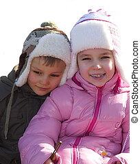 enfants, neige