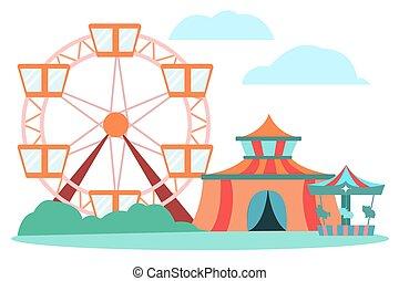 enfants, parc, amusement, adultes