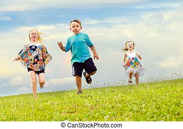 enfants, pied, avoir, course