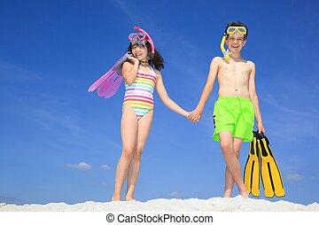 enfants, plage
