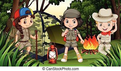 enfants, profond, camping, forêt