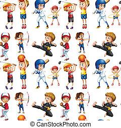 enfants, seamless, sports