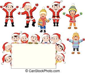 enfants, signe blanc, noël, dessin animé
