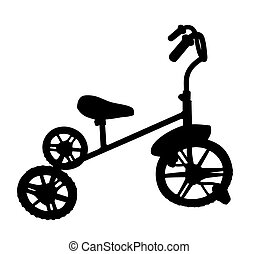 enfants, silhouette, bicycle.
