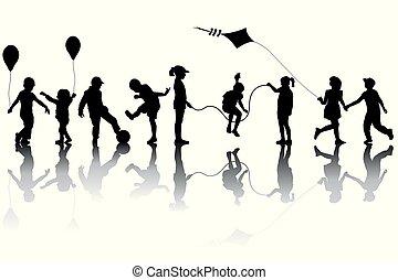 enfants, silhouettes, ballons, cerf volant, jouer