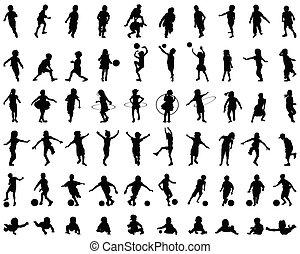 enfants, silhouettes, jouer
