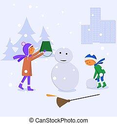 enfants, snowman., faire