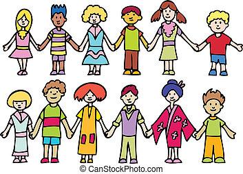 enfants tenant mains