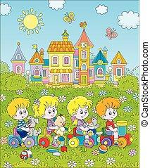 enfants, train, petit, jouet, cour de récréation