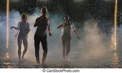 enfumé, danseurs, exécuter, corps, pluie, en mouvement, salsa, studio., professionnel, sombre, silhouettes, éléments, trois, lent, motion.