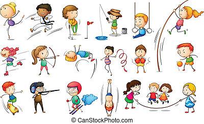 engageant, différent, sports gosses