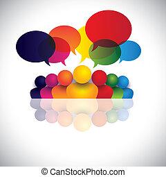 engagement, gens bureau, communication, discussions, enfants, personnel, &, média, aussi, employé, réunion, gosses, interaction, conférence, représente, graphique, parler., conversation, vecteur, social, ou