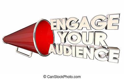 engager, communiquer, illustration, audience, bullhorn, porte voix, ton, 3d