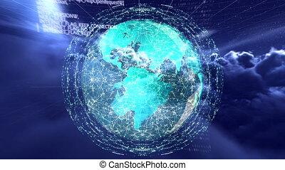 engendré, vidéo, digitalement, globe