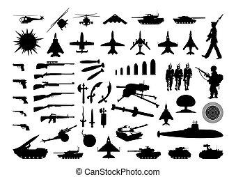 engineering., arme, illustration, silhouettes, vecteur, divers