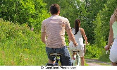 engrenage été, bicycles, équitation, fixe, amis