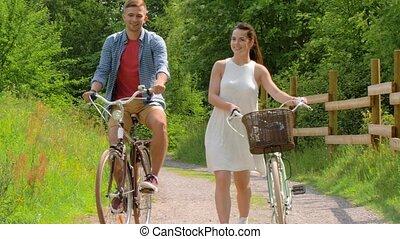 engrenage été, couple, bicycles, fixe, heureux