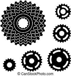 engrenage bicyclette, pignon, roue dentée, symboles, vecteur