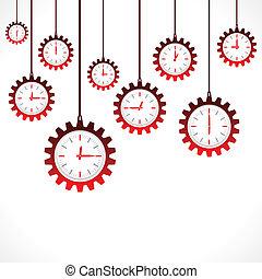 engrenage, clocks, forme, rouges