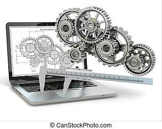 engrenage, computer-design, trammel, ordinateur portable, engineering., draft.