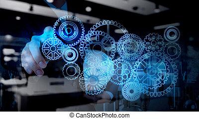 engrenage, fonctionnement, homme affaires, lumière bleue, reussite