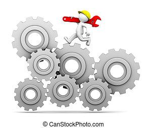 engrenage, haut, industriel, mécanisme, courant, ouvrier