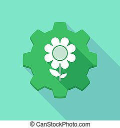 engrenage, icône, ombre, fleur, long