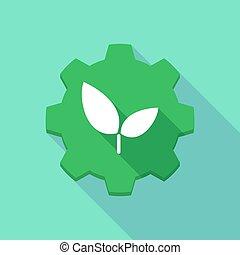engrenage, icône, ombre, long, plante