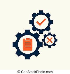 engrenage, illustration., monture, vecteur, tâche, signe, icône