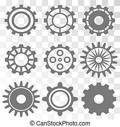 engrenage, machine, roue