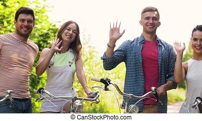 engrenage, onduler, bicycles, mains, fixe, amis