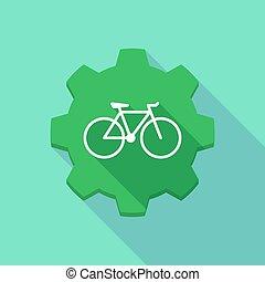 engrenage, vélo, icône, ombre, long
