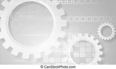engrenages, carrés, animation, gris, élevé, vidéo, technologie