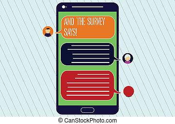 enquête, concept, têtes, réaction, communiquer, couleur, texte, écran, says., bubbles., résultats, mobile, signification, messager, bavarder, vide, parole, écriture, poll, projection