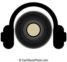 enregistrement, écouteurs, lp, écoute