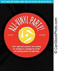 enregistrement, all-vinyl, fête, invitation