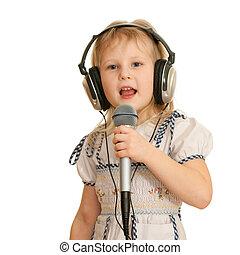 enregistrement, chant, girl, studio