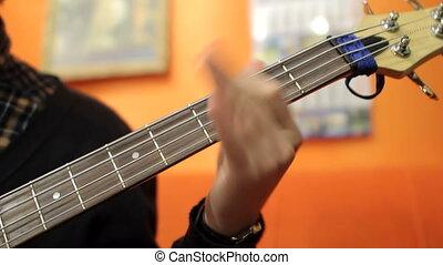 enregistrement, guitare, studio, jouer, homme