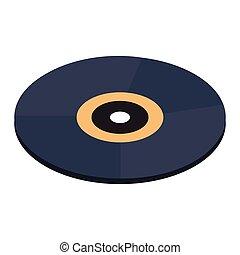 enregistrement, isométrique, 3d, vinyle, icône