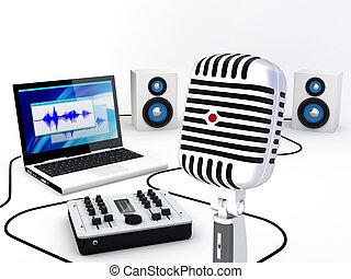 enregistrement, maison, studio, équipement