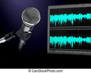 enregistrement, microphone, studio.