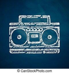 enregistreur, cassette, icône