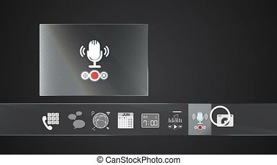 enregistreur, icône, voix, mobile
