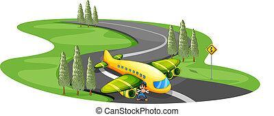 enroulement, avion, route, atterrissage, garçon, long
