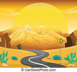 enroulement, désert, route