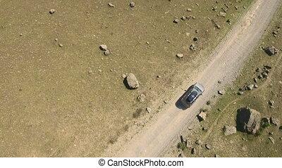 enroulement, montagnes, route, voiture