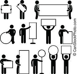 enseigne, homme, bannière, vide, vide