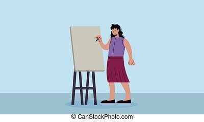 enseignement, élégant, femme affaires, carton